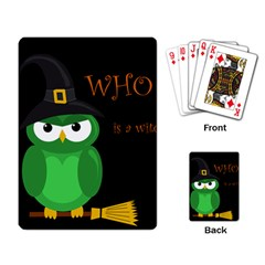 Who Is A Witch?   Green Playing Card by Valentinaart