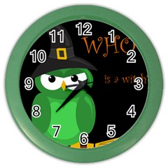 Who Is A Witch?   Green Color Wall Clocks by Valentinaart