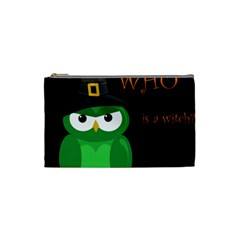 Who Is A Witch?   Green Cosmetic Bag (small)  by Valentinaart