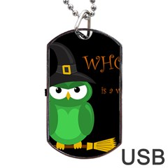 Who Is A Witch?   Green Dog Tag Usb Flash (two Sides)  by Valentinaart
