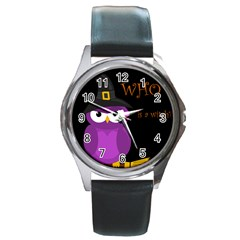 Who Is A Witch?   Purple Round Metal Watch by Valentinaart