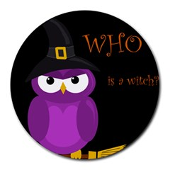 Who Is A Witch?   Purple Round Mousepads by Valentinaart