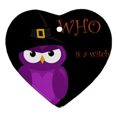 Who Is A Witch?   Purple Heart Ornament (2 Sides) by Valentinaart