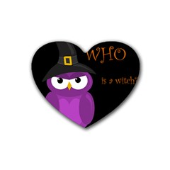 Who Is A Witch?   Purple Rubber Coaster (heart)  by Valentinaart