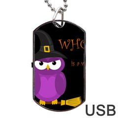 Who Is A Witch?   Purple Dog Tag Usb Flash (one Side) by Valentinaart
