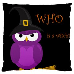 Who Is A Witch?   Purple Large Flano Cushion Case (two Sides) by Valentinaart