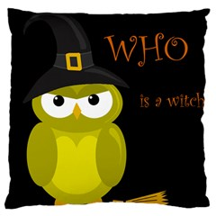 Who Is A Witch?   Yellow Large Cushion Case (one Side) by Valentinaart