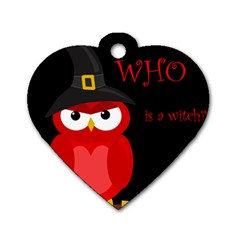 Who Is A Witch?   Red Dog Tag Heart (one Side) by Valentinaart