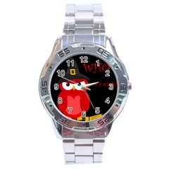 Who Is A Witch?   Red Stainless Steel Analogue Watch by Valentinaart