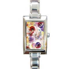 Watercolor Spring Flowers Background Rectangle Italian Charm Watch