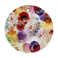 Watercolor Spring Flowers Background Ornament (round)