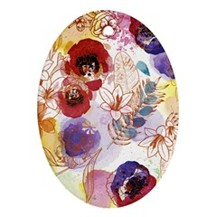 Watercolor Spring Flowers Background Ornament (oval)  by TastefulDesigns