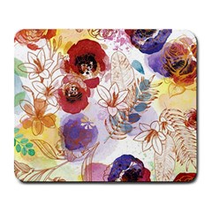 Watercolor Spring Flowers Background Large Mousepads by TastefulDesigns