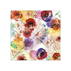 Watercolor Spring Flowers Background Acrylic Tangram Puzzle (4  X 4 )