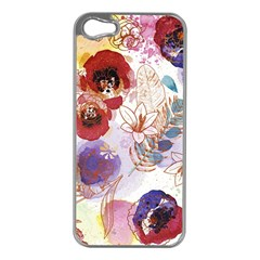 Watercolor Spring Flowers Background Apple Iphone 5 Case (silver)