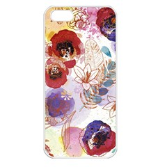 Watercolor Spring Flowers Background Apple Iphone 5 Seamless Case (white) by TastefulDesigns