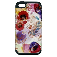 Watercolor Spring Flowers Background Apple Iphone 5 Hardshell Case (pc+silicone)