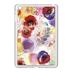Watercolor Spring Flowers Background Apple Ipad Mini Case (white) by TastefulDesigns