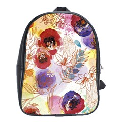 Watercolor Spring Flowers Background School Bags (xl)