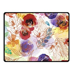 Watercolor Spring Flowers Background Double Sided Fleece Blanket (small)
