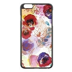 Watercolor Spring Flowers Background Apple Iphone 6 Plus/6s Plus Black Enamel Case by TastefulDesigns