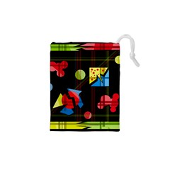 Playful Day Drawstring Pouches (xs)  by Valentinaart