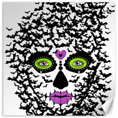 Bat Lady Sugar Skull Canvas 12  X 12   by burpdesignsA