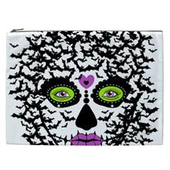 Bat Lady Sugar Skull Cosmetic Bag (xxl)  by burpdesignsA