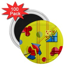 Playful Day   Yellow  2 25  Magnets (100 Pack)  by Valentinaart