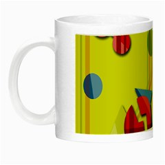 Playful Day   Yellow  Night Luminous Mugs by Valentinaart