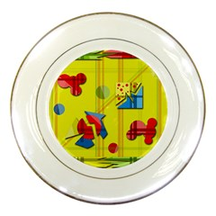 Playful Day   Yellow  Porcelain Plates by Valentinaart