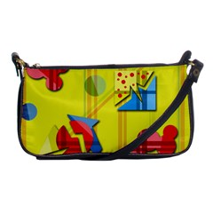 Playful Day   Yellow  Shoulder Clutch Bags by Valentinaart