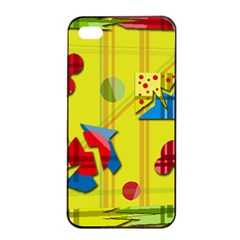 Playful Day   Yellow  Apple Iphone 4/4s Seamless Case (black) by Valentinaart