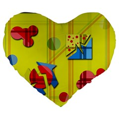 Playful Day   Yellow  Large 19  Premium Flano Heart Shape Cushions by Valentinaart