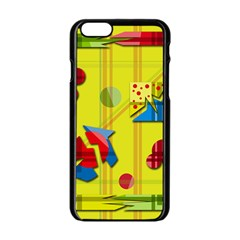 Playful Day   Yellow  Apple Iphone 6/6s Black Enamel Case by Valentinaart