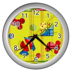 Playful Day   Yellow  Wall Clocks (silver)  by Valentinaart