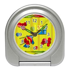 Playful Day   Yellow  Travel Alarm Clocks by Valentinaart