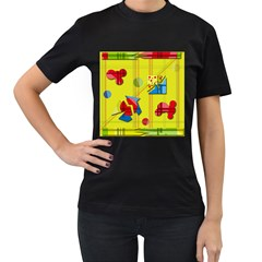 Playful Day   Yellow  Women s T Shirt (black) (two Sided) by Valentinaart
