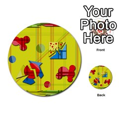 Playful Day   Yellow  Multi Purpose Cards (round)  by Valentinaart
