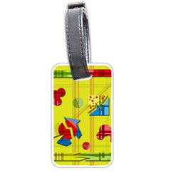 Playful Day   Yellow  Luggage Tags (two Sides) by Valentinaart