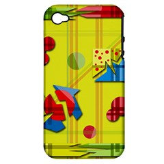 Playful Day   Yellow  Apple Iphone 4/4s Hardshell Case (pc+silicone) by Valentinaart