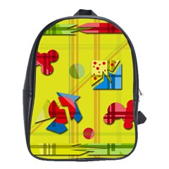 Playful Day   Yellow  School Bags (xl)  by Valentinaart