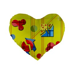 Playful Day   Yellow  Standard 16  Premium Heart Shape Cushions by Valentinaart