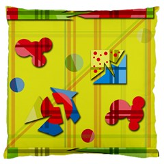 Playful Day   Yellow  Standard Flano Cushion Case (two Sides) by Valentinaart