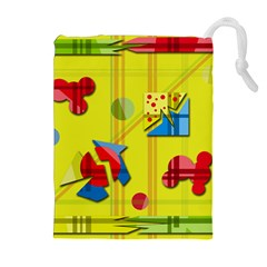 Playful Day   Yellow  Drawstring Pouches (extra Large) by Valentinaart