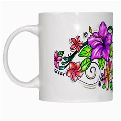Tropical Hibiscus Flowers White Mugs by EverIris