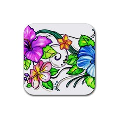 Tropical Hibiscus Flowers Rubber Coaster (square)  by EverIris