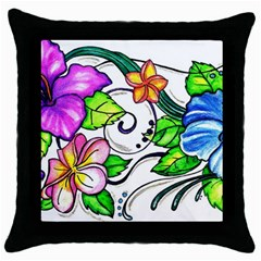 Tropical Hibiscus Flowers Throw Pillow Case (black) by EverIris