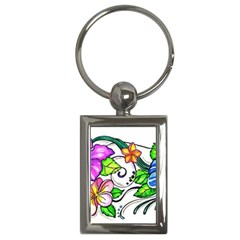 Tropical Hibiscus Flowers Key Chains (rectangle)  by EverIris