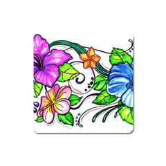 Tropical Hibiscus Flowers Square Magnet by EverIris